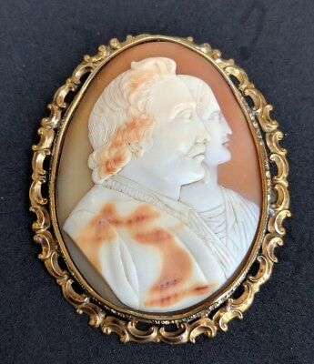 Large Antique Victorian Double Portrait Shell Cameo 9ct Gold Brooch Pin