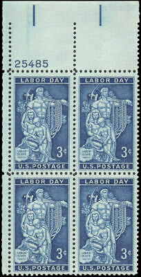 US #1082 MNH plate block of 4, 3c Labor Day