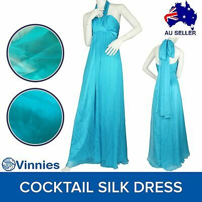 NEW Cocktail Silk Dress Sz 8 $329 Formal Prom Ball Gown Gathered Turquoise NWT