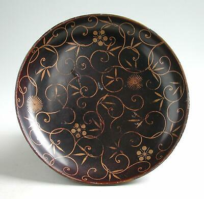 Antique Japanese 19th Century Lacquered Wooden Dish 21.5cm