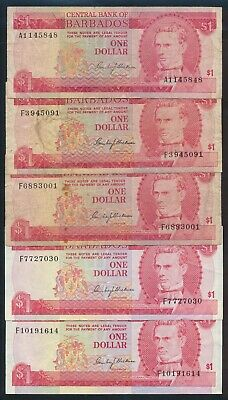 "Barbados: 1973 $1 Sig Blackman LOT OF 5 INCLUDING 1ST PREFIX ""A1"". Pick 29a F-VF"