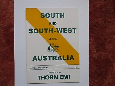 SOUTH AND SOUTH WEST v AUSTRALIA 1981 with 2 autographs