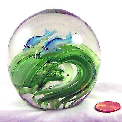Paperweight Blown Art Glass Crystal Blue Dolphins Porpoise Green Swirls Vintage