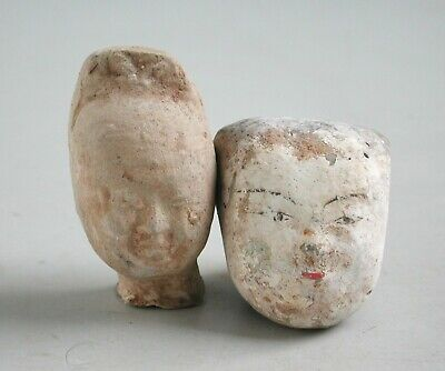 Two Small Ancient Chinese Pottery Heads - Han & Tang Dynasty