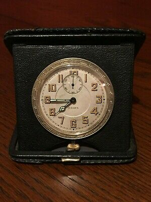 Stunning Restored Goliath 1920s Leather 8 Day Travel Clock Serviced and Working