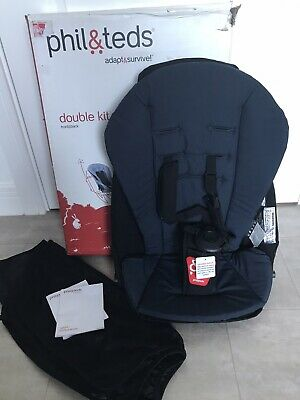 BNIB Phil & Teds Double Kit (second Seat) Navy Liner, Hinges And Sun Cover