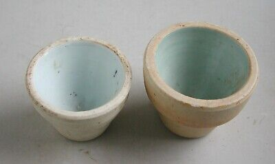 2 x Chinese 18th - 19th Century Heavy Monochrome Porcelain Cups
