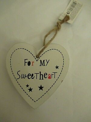 White wooden hanging heart, plaque, 'For My Sweetheart',Christmas gift tag