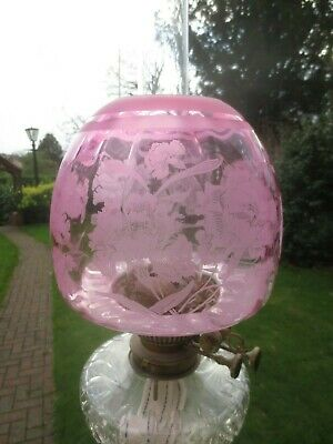Superb Antique Victorian Veritas  Cranberry Acid Etched Duplex Oil Lamp  Shade