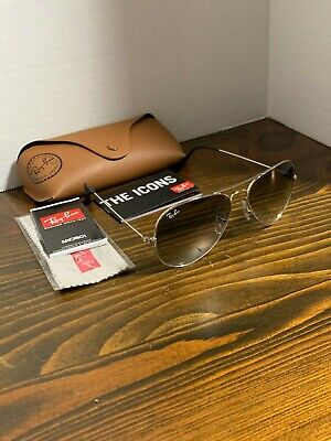Ray-Ban Sunglasses Aviator Silver Frame Grey Gradient Lens RB3026 003/32 58mm