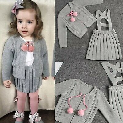 Girls Spannish Knitted Outfit Grey Pink Cardigan Pleated Pinafore Skirt Age 6-7
