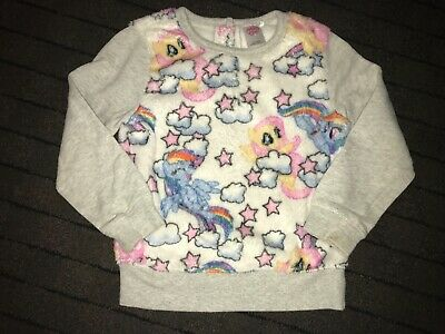 Girls Clothes next white/grey fleece jumper my little pony age 4-5 years4.99