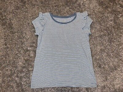 Girls Clothes next blue/white stripy top grill sleeves age 4-5 years