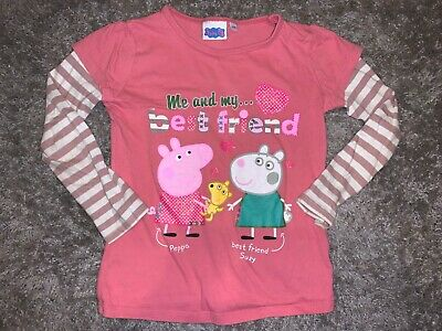 Girls Clothes pink top Peppa Pig and Suzy sheep motif age 5-6 years