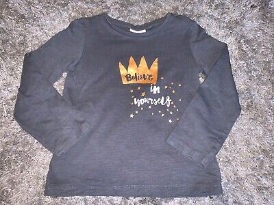 Girls Clothes next grey top crown motif believe in yourself age 4-5 years