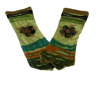 Goa Hippie Elf Witchy Festival Sleeves Arm Warmers Nepal Embroidered