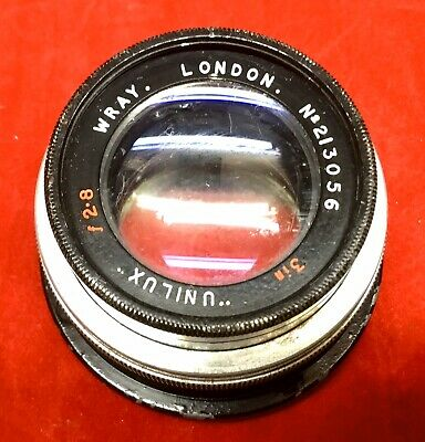 Vintage Camera Lens Wray (Optical Works) Ltd. London 3in. F2.8 with backplate