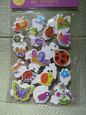 Assorted Bugs, Butterflies and Flowers Padded Stickers For Crafting