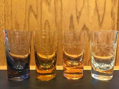 Vintage Multi Colored Etched Glass Shot Glasses (Matching Set of 4)