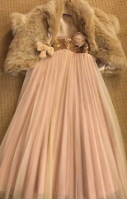 MONSOON  PARTY OUTFIT DRESS & FUR Blonde GILLET AGE 6-7 Yrs Xmas Party ! Gorgous