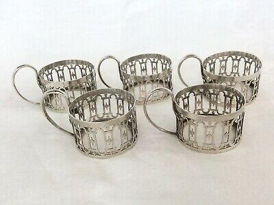 SET OF FIVE SOLID SILVER CUP HOLDERS - Aidie Brothers, Birmingham, 1923.w