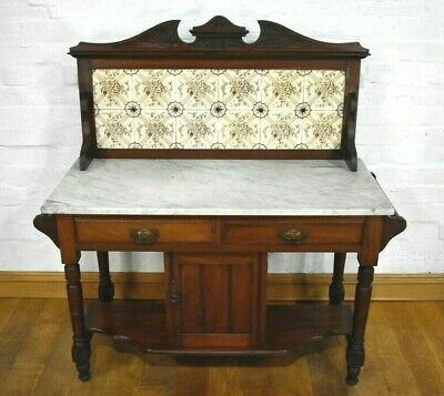 Antique carved Victorian marble top washstand - dressing table - vanity unit