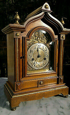 Antique Bracket Mantle Clock by H.A.C.Hamburg American Clock Co ~14 day Strike~