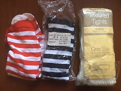 3 Pairs Of New Unworn Vintage Girls Tights Age 5-6 Years Red Black Striped Cream