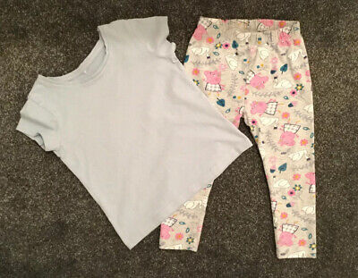 🌸George Girls Outfit Blue T-Shirt + Peppa Pig Leggings Age 2-3 Years🌸