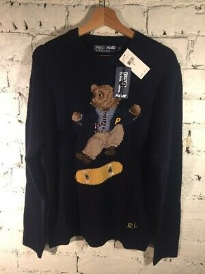 Palace X Ralph Lauren Skate Polo Bear Jumper In Aviator Navy  Large BNWT