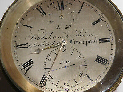 Antique Fusee  Marine Chronometer Clock By Frodsham & Keen,  England.