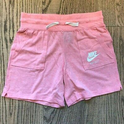 Nike Sportswear Vintage Just Do It Girls Shorts Pink & White Age 12-13 Years