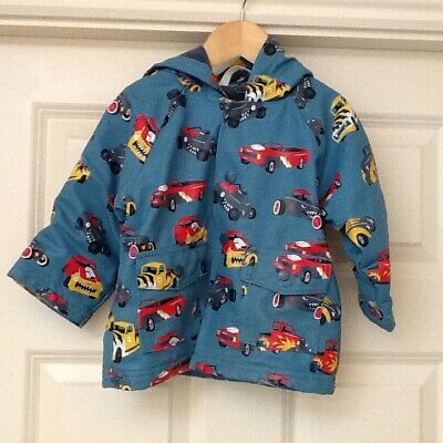 Gorgeous Boys  Lined Hatley Raincoat Size 12 months Monster truck Cars Pattern