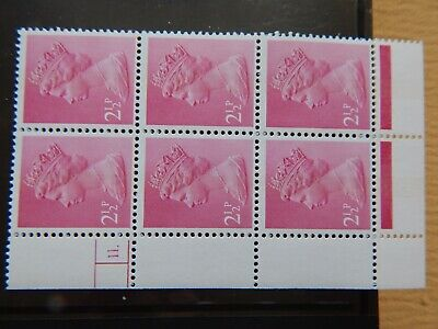 GB MACHIN BLOCK OF 6 stamps : U88 2½p CB CYL 11 dot phos - FCP/GA GUM ARABIC