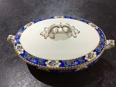 Very old white with blue Chinese edging pattern collection of large oval plates