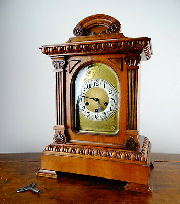 Antique Bracket Mantel Clock Westminster Chiming 1/4 Strike by Junghans Germany