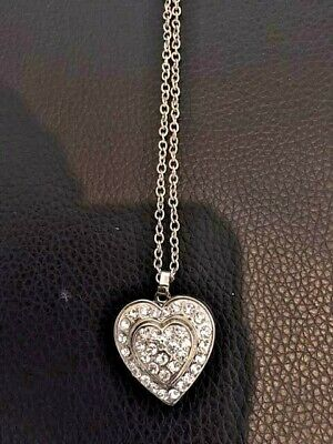 "Sterling Silver Heart Pendant Opens for Photos Covered With Crystals,16"" SSChain"