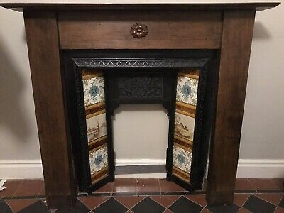 Victorian Style Cast Iron Fireplace With Tiles And Antique Oak