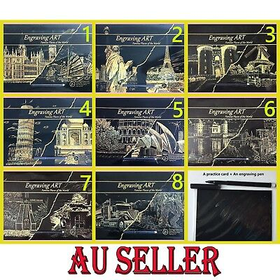 AU 2 x A3 Magic Scratch Art Painting Paper With Drawing Pen Gold Kids Craft