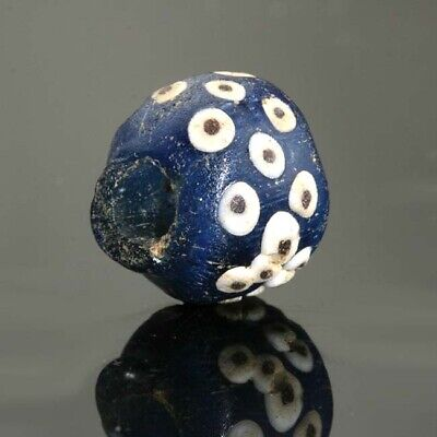 Ancient Roman glass beads: genuine Roman blue glass eye bead, 1 century BCE