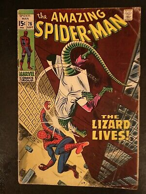 "Amazing Spider-Man #76 Sept 1969 ""The Lizard Lives""  Silver Age Marvel"
