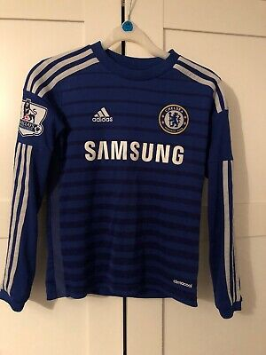 Official Addidas Chelsea Fc Boys Home Shirt With No.10 Hazard & PL Badges 9-10Yr