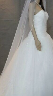 Brides Bridal Ivory Chapel Veil 1 Tier Soft Swiss Net Crystal Rhinestone Edge