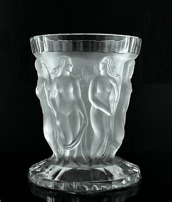 Glamorous Art Deco Satin Glass Nude Figural Large Vase H.Hoffmann