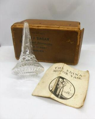 Antique Art Deco 1930's Edinburgh Crystal Cut Glass Vintage Car Yacht Bud Vase
