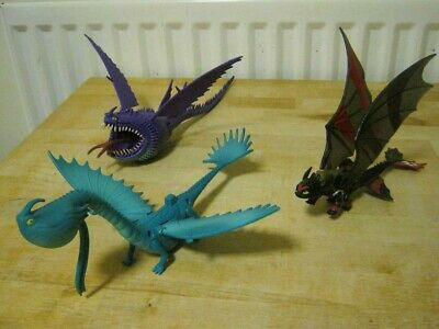 3 x How to Train Your Dragon Models: Toothless, Thunderdrum & Scoldron. Preloved