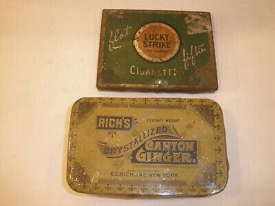 Two Vintage advertising tins, Lucky Strike & Canton Ginger