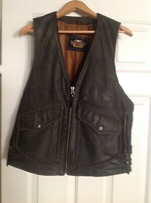 HARLEY DAVIDSON BILLINGS LEATHER VEST Medium Altered To Fit Large