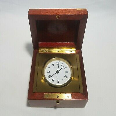 Matthew Norman Swiss Made Quartz Clock in Wood Case Brass Corners - Not Running
