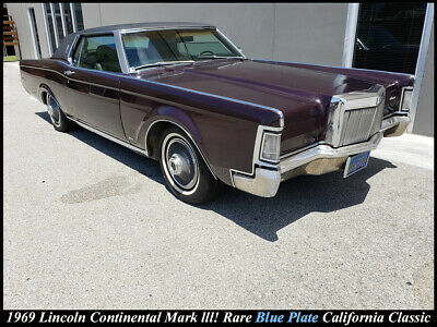 1969 Lincoln Continental MARK III VINTAGE 1969 LINCOLN CONTINENTAL MARK III COUPE! BLUE PLATE CALIFORNIA CLASSIC!